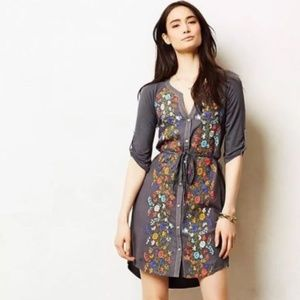 Anthropologie Tiny Floral Gathered Vines Dress